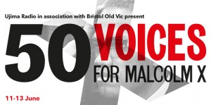 Poster for 50 Voices for Malcolm X. Movements for Changes.